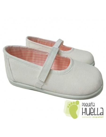 Merceditas Lona Blancas para Niñas Zapy con Velcro 218