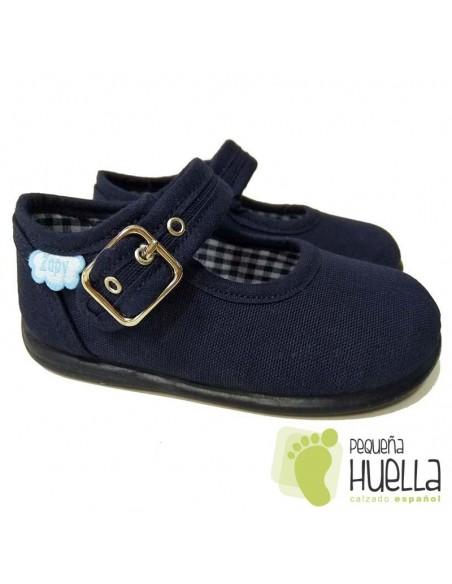 Merceditas Lona Azul Marino para bebes y niñas con Hebilla Zapy