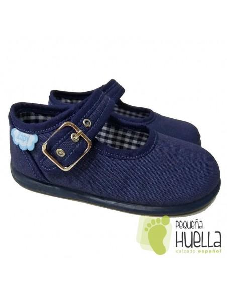 Merceditas Lona Azul Jeans para bebes y niñas con Hebilla Zapy