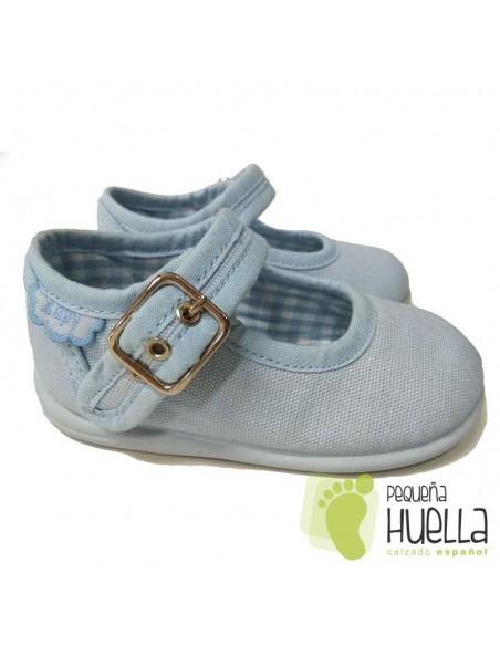 Merceditas Lona Azul Celeste para bebes y niñas con Hebilla Zapy