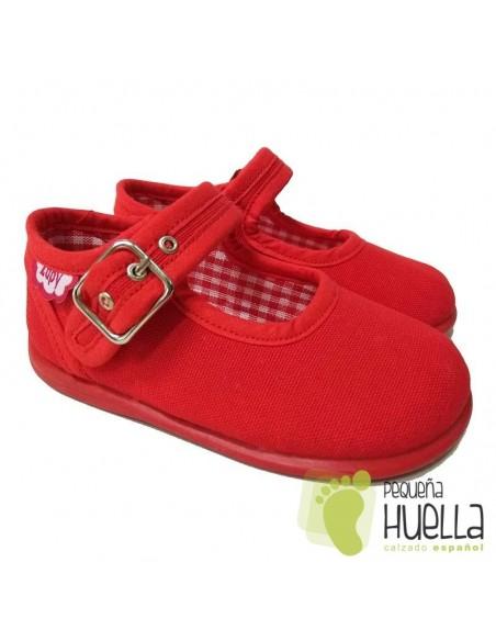 Merceditas Lona Rojas para bebes y niñas con Hebilla Zapy
