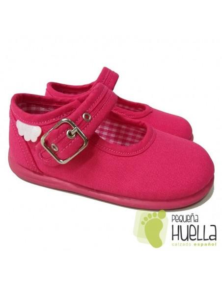 Merceditas Lona Rosa Fucsia para bebes y niñas con Hebilla Zapy