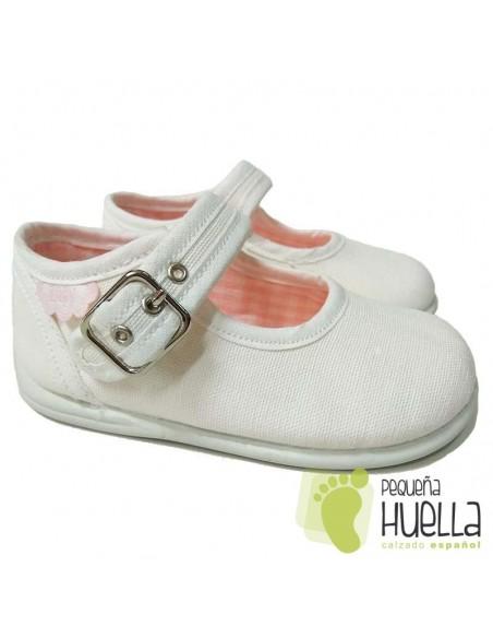 Merceditas Lona Blancas para bebes y niñas con Hebilla Zapy