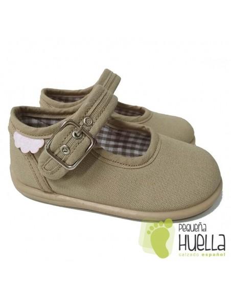 Merceditas Lona Tostado para bebes y niñas con Hebilla Zapy