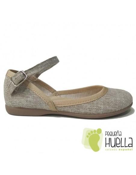 Zapatillas Niñas Lino Beige