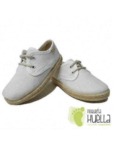Blucher Alpargata Lino Blanco para Niños