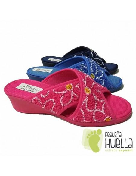 Zapatillas de Rizo Abierta y Cruzada toalla para Señora J. Ortega