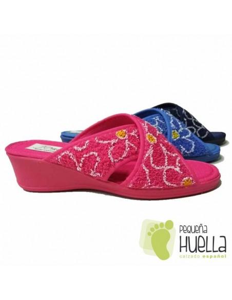 Zapatillas de toalla Abierta y Cruzada Rizo para Mujer J. Ortega