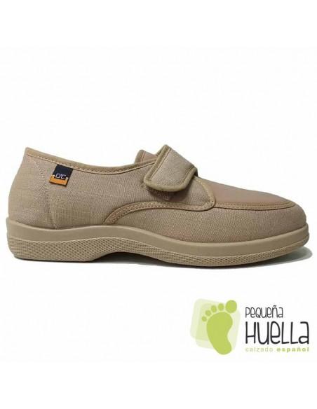 Zapatillas de tela Beige con velcro Doctor Cutillas 21300