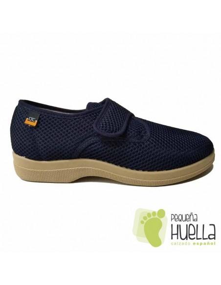 Zapatillas Caballero de tela Azul Marino con velcro  21310