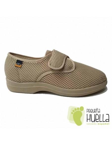 Zapatillas Caballero de tela Beige con velcro  21310