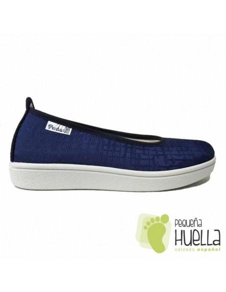 Zapatillas Tela Azul Marino Mujer, LA PERCLA
