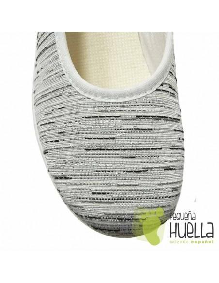 Zapatillas Tela Blanca Plateada Mujer, LA PERCLA