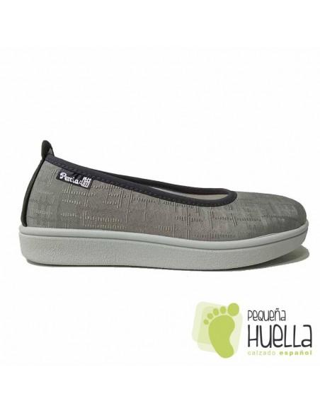 Zapatillas Tela Gris Mujer, LA PERCLA