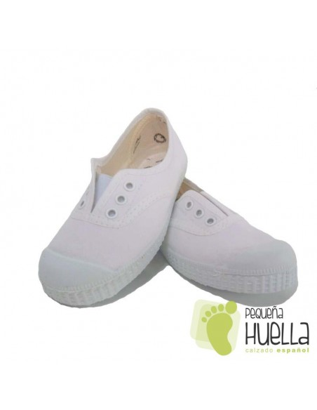 Zapatillas Lona Blancas Niños Puntera de Goma, La Cadena.