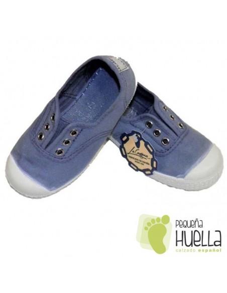 Zapatillas Lona Azul Azafata Niños Puntera de Goma, La Cadena.