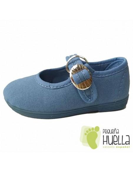 Merceditas para niñas de lino azul azafata