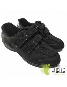 Zapatillas Negras Señora con Velcro, La Percla