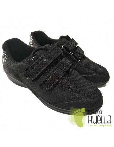 Zapatillas Negras Anatómicas Señora con Velcro, La Percla