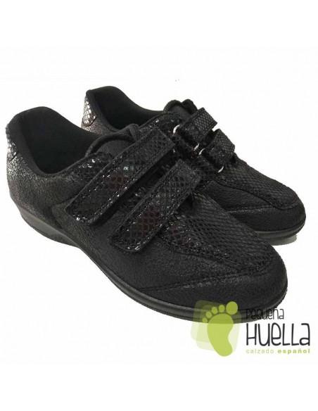 Zapatillas Negras Anatómicas Señora con Velcro, La Percla 477