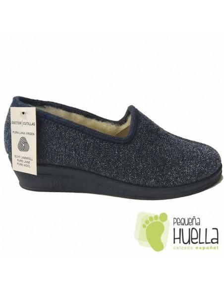 DOCTOR CUTILLAS Zapatillas de lana azules para Casa para señora