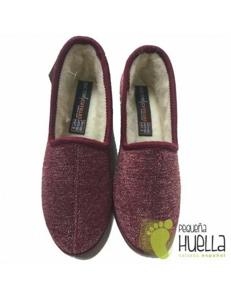DOCTOR CUTILLAS Zapatillas de lana burdeos para Casa de mujer