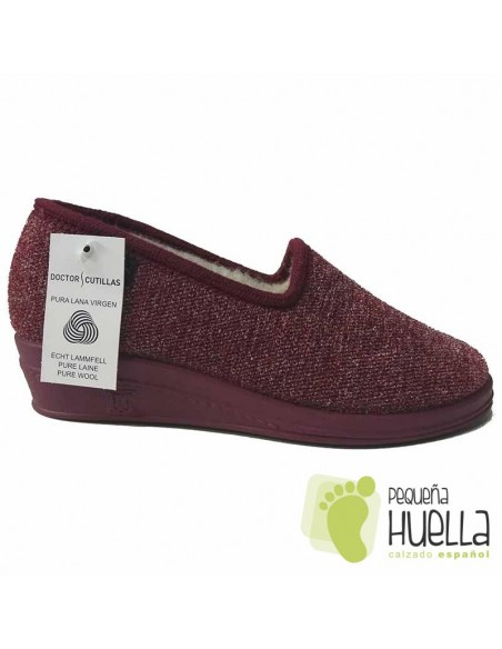 Zapatillas señora de lana burdeos para Casa DOCTOR CUTILLAS 9454