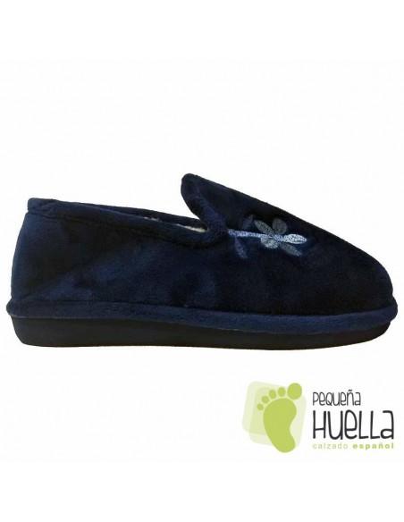 Zapatilla señora azules  con borreguito planas