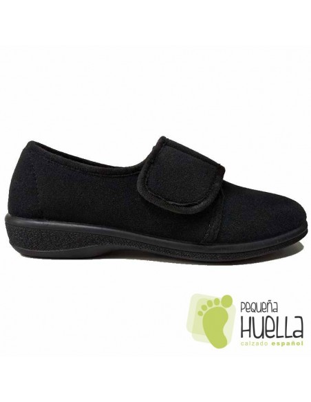 Zapatillas Señora Negras con Velcro, J. Ortega 1863