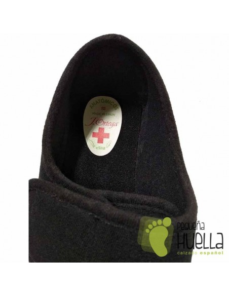 Zapatillas Paño Negro Señora Mayor con Velcro, J. Ortega 1863