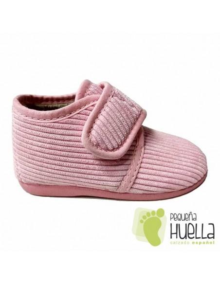 Zapatillas rosas casa chicas con velcro