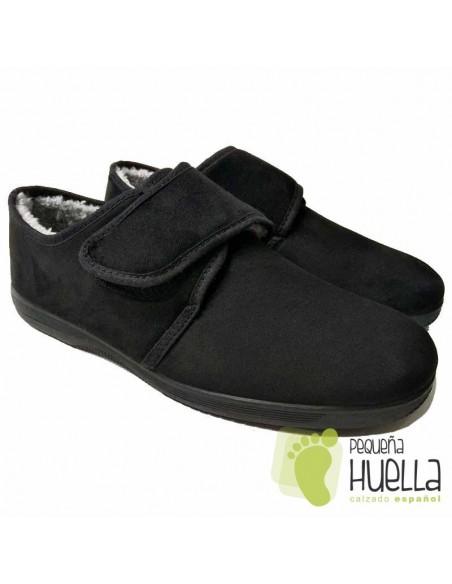 Zapatillas hombres mayores negras con velcro