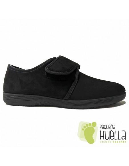 Zapatillas abuelos negras con velcro para el invierno