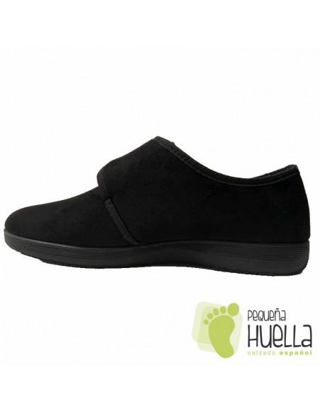 Zapatillas ancianos negras con velcro