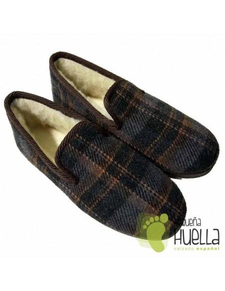 Zapatillas de casa a cuadros para señor mayor Cruan
