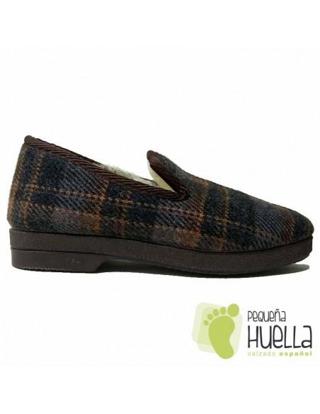 Zapatillas de cuadros forradas de lana para hombre Cruan