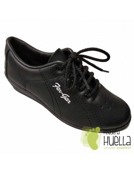 Zapatillas de piel negra mujer con cordones Fergar