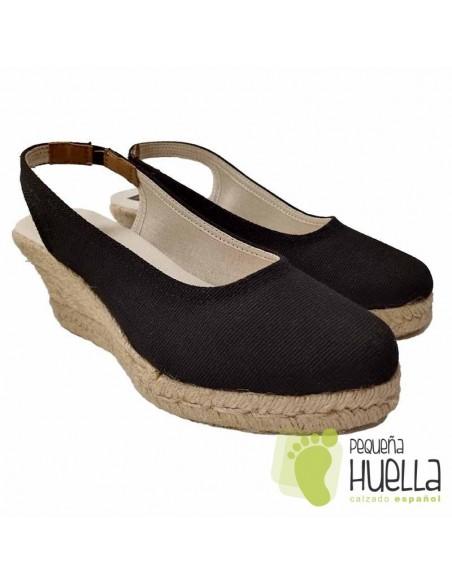 Alpargatas negras de mujer hechas en España