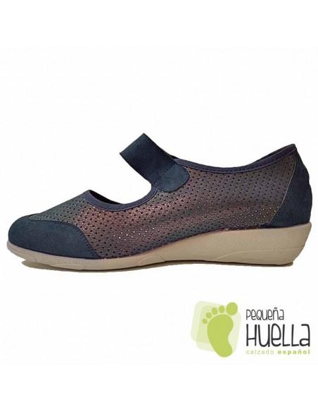 Zapatos azules señora cómodos 3175