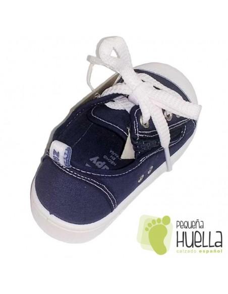Zapatillas Lona azules puntera de goma para Niños y Niñas Con Cordones y Cremallera Zapy