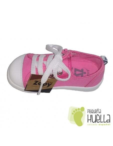 Zapatillas Lona rosa para Niñas de verano con Cordones y Cremallera Zapy