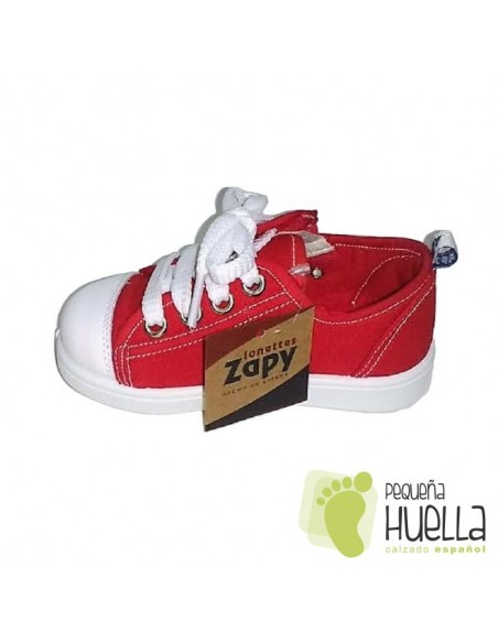 Zapatillas Lona Roja con Puntera de Goma para Niñas y Niños Con Cordones y Cremallera Zapy