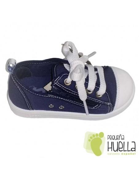 Zapatillas Lona azules jeans vaquero o tejano para Niños y Niñas Con Cordones y Cremallera Zapy