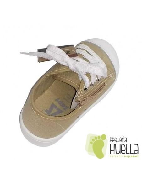 Zapatillas Lona Beige o Camel para Niños y Niñas Con Cordones y Cremallera Zapy