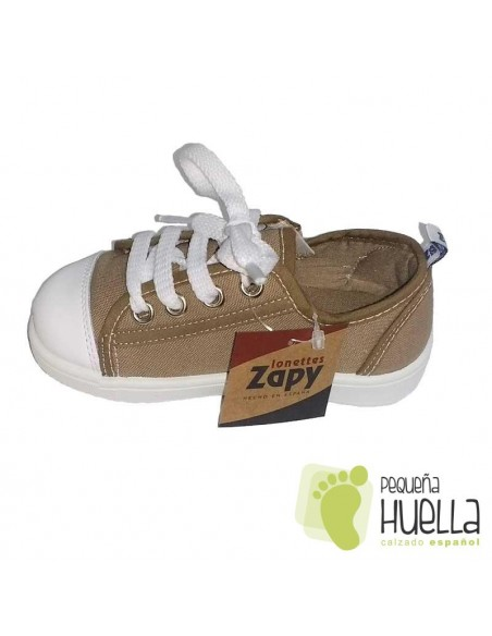 Zapatillas Lona marrones o tostado para Niños y Niñas Con Cordones y Cremallera Zapy