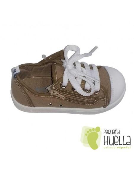 Zapatillas Lona marrón tostado para Niños y Niñas Con puntera de goma Zapy