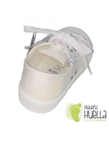 Zapatillas Lona blanca para Niños y Niñas Con Cordones y Cremallera Zapy