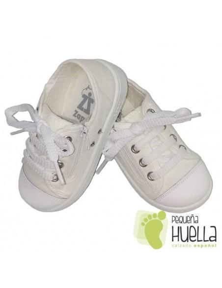 Zapatillas Lona blancas para Niños y Niñas Con Cordones y Cremallera Zapy