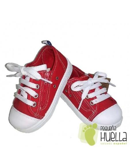 Zapatillas Lona Rojas para Niños y Niñas Con Cordones y Cremallera Zapy