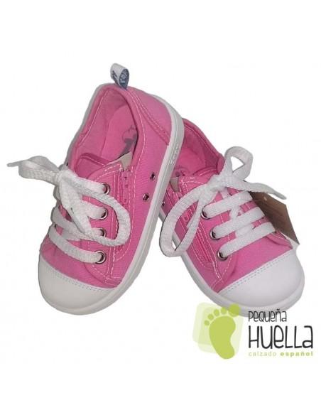 Zapatillas Lona rosas para Niñas Con Cordones y Cremallera Zapy